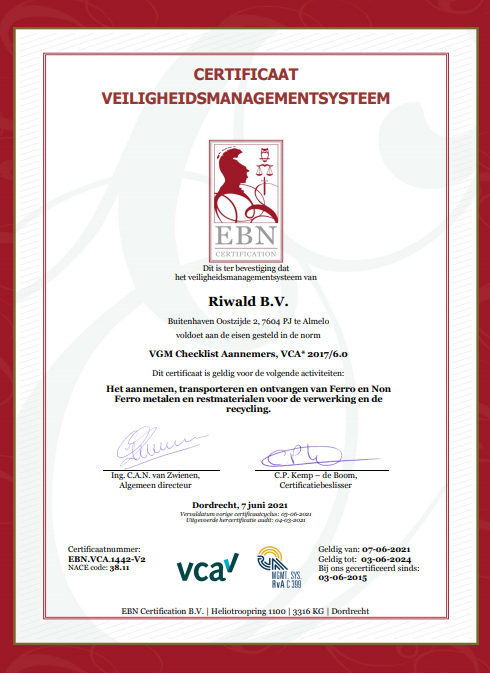 Certificaat_VCA_Riwald_Recycling_Almelo_Beverwijk