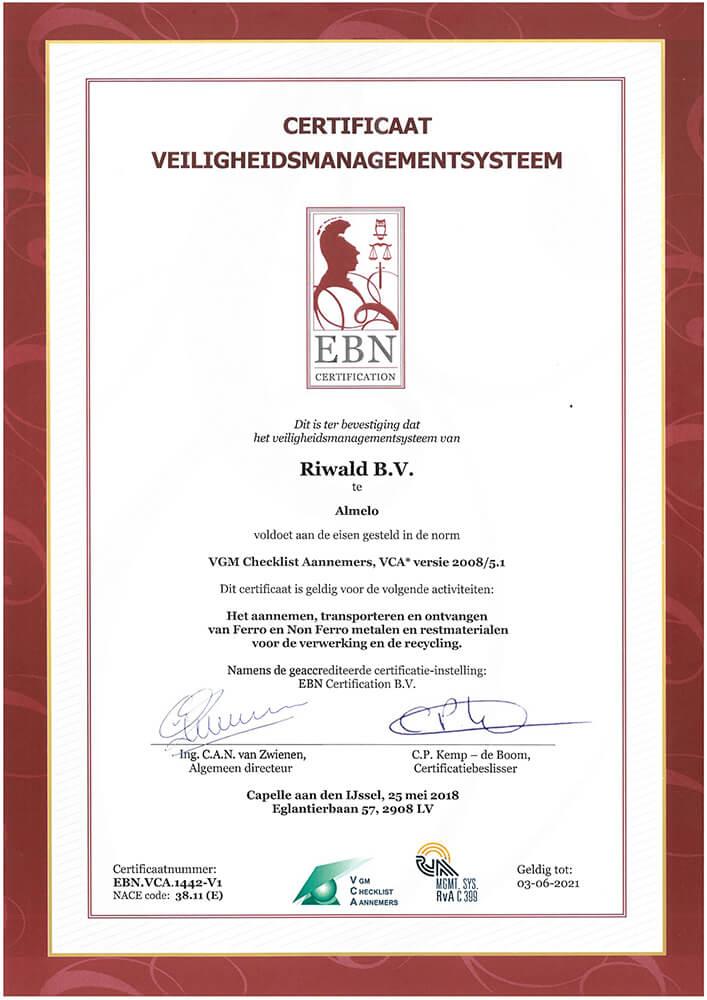 VCA certificaat veiligheidsmanagement Riwald almelo