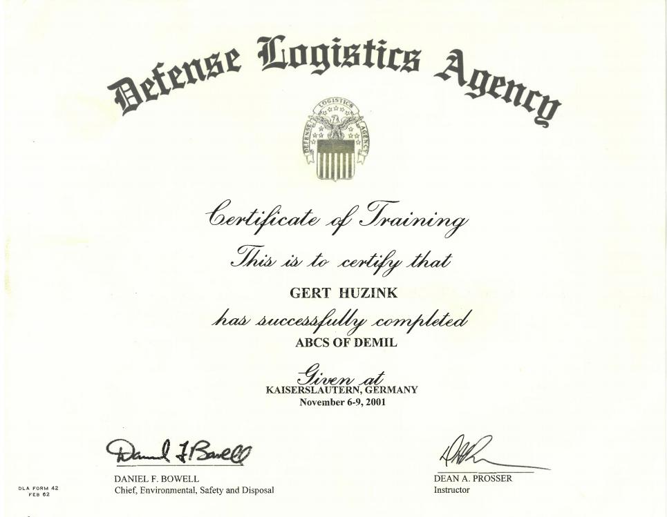 ABCS of demil defense logistics agency certificaat