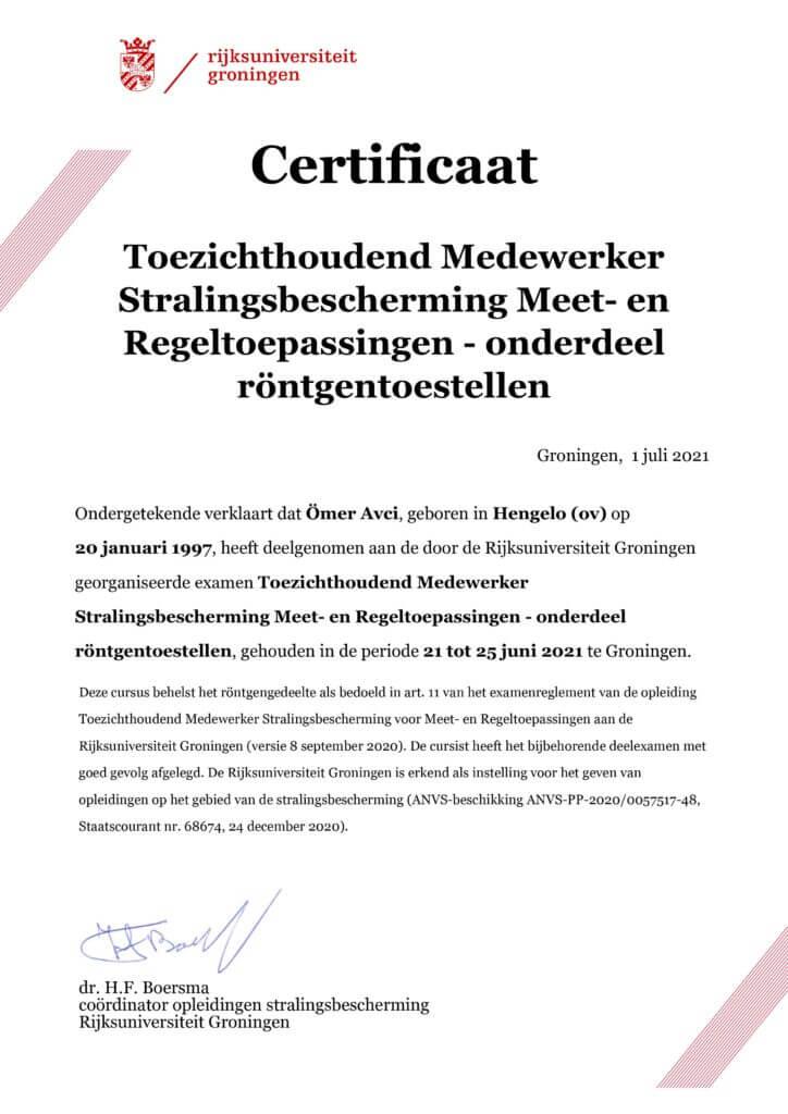 TMS certificaat toezichthoudend medewerker stralingsdesbescherming rontgentoestellen