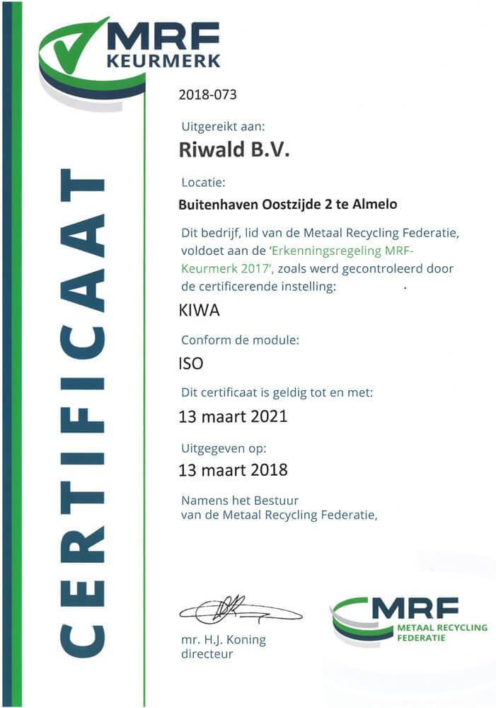 MRF Keurmerk certification